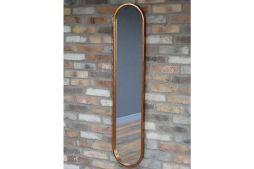 Industrial Metal Copper Finish Oval Wall Hanging Mirror (DX6607) 130cm